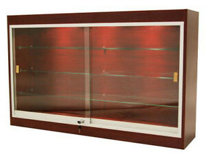 Cherry Wall Mounted Display Showcase With Glass Doors Shelves Lights Lock