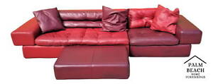 3 Piece Roche Bobois Leather Sectional Sofa With 3 Pillows In 2 Tones Of Red
