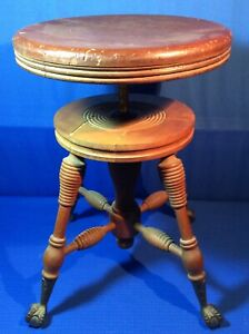 Antique Eagle Claw Foot Piano Stool