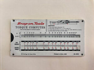 Vintage Snap on Tools Torque Computer Pull Card Calculator Old Logo 1980 s