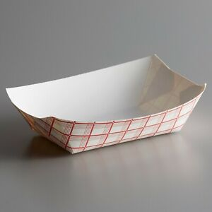 250 Pack 300 3 Lb 1 Compartment Disposable Red Check Paper Food Tray
