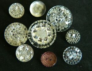 Lot Vintage Antique Clear Glass Buttons W Gold Painted Backs