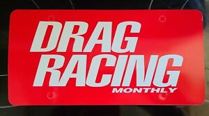 Rare Drag Racing Monthly Plastic License Plate Insert Ford Chevy Mopar Hemi