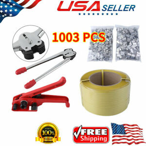 1003pcs Heavy Duty Pallet Strapping Banding Kit Tensioner Tool Sealer Coil Usa