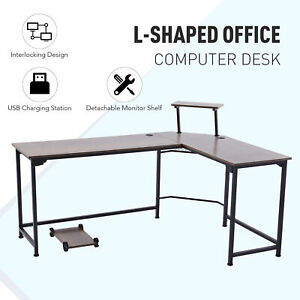 L Shaped Computer Desk With Monitor Stand And Usb Ports Walnut Home Office