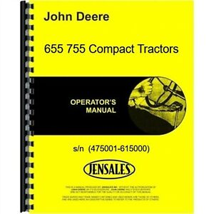 John Deere 655 755 Tractor Owners Operators Manual Compact