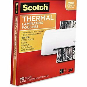 Scotch Thermal Laminating Pouches 3 Mil Thick Durable Clean Finish