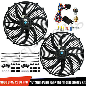 2pcs 16 Inch Electric Radiator Slim Fan With Thermostat Wiring Switch Relay Kit