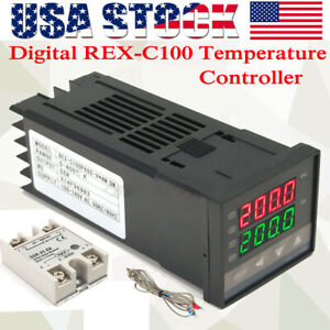 Lcd Pid Rex c100 Temperature Controller Ssr 40a K Thermocouple Heat Sink O3s7