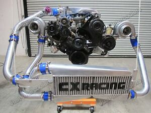 Cxr Fmic Twin Turbo Intercooler Kit For 79 93 Fox Body Ford Mustang V8 5 0 Gt35