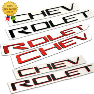 Chrome Black Red Raised Domed Tailgate Letters Inserts For Chevrolet Silverado