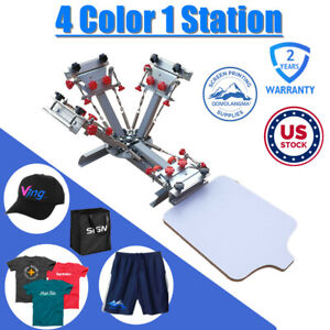 4 Color 1 Station Silk Screen Printing Press Machine With Micro Registration