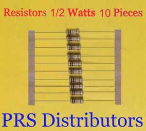 Resistor 1 To 10m 1 2w 10 Pieces On Your Choice 0 5 Watt Carbon Film Us Seller