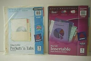 2 Packs 5 tab Avery Dividers 81109 plastic 11900 paper Dividers W Pockets