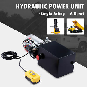 6 Quart 12v Single Acting Hydraulic Pump W Steel Tank For Dump Bed Tow Plow More