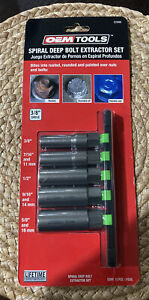 Spiral Type Deep Bolt Extractor Set 5 Piece Oemtools 22986 3 8 Drive