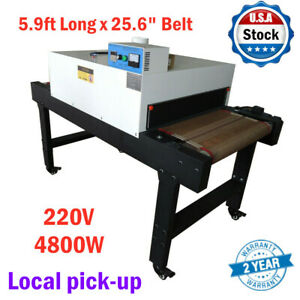 Small T shirt Conveyor Tunnel Dryer 5 9ft X25 6in Belt For Screen Printing 220v
