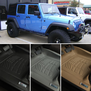 Floor Mats For 2007 2010 Jeep Wrangler Jk Unlimited 4dr Front Second Row Cargo