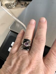 Vintage Sterling Silver Marcasite Ring Amethyst Onyx Deco Size 6.75 $14.95
