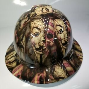 New Full Brim Hard Hat Custom Hydro Dipped Anonymous American Patriot Edition