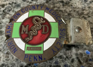 Vintage Ama Md Medical Society License Plate Topper Northampton County Pa nice