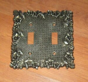 Vintage Metal Brass Double Light Switch Plate Cover Floral