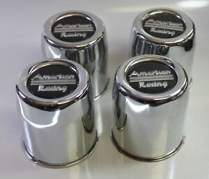 4 Vintage American Racing Wheel Chrome Center Caps With Black Center Logo