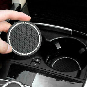 2 Pack Coasters Car Cup Holder Insert Accessories Universal Bling Rhinestone 7cm