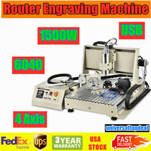 Usb 1 5kw 4 Axis 6040 Cnc Router Engraver Carving Engraving Machine Metal Cutter