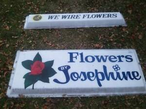 Vintage Commercial Business Advertising Signs Flower Shop Ftd We Wire Flowers