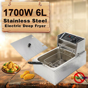 1700w 6l Commercial Electric Deep Fryer Restaurant Stainless Steel 6 3qt Us New