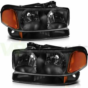 Fits 1999 2007 Gmc Sierra Headlights Assembly Driver Passenger Side Set