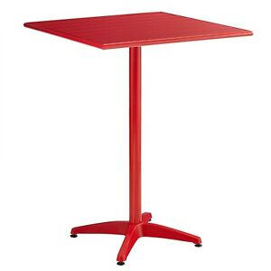 32 X 32 Square Red Aluminum Restaurant Bar Dining Table For Outdoor Use