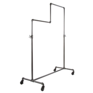 Pipeline Gray Steel Double Adjustable Clothes Rack With Wheels 50 In W X 78 In