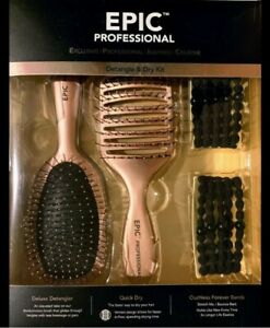 Epic Pro Two Brush Quick Dry Detangler Kit 10 Ouchless Hair Bands Two Colors