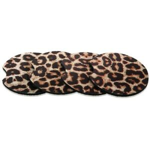 4pcs 2 56in Leopard Car Coasters For Drinks Car Cup Pad Mat For Living Room