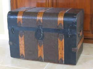 Antique Ca 1890 Monitor Military Pine Steamer Trunk