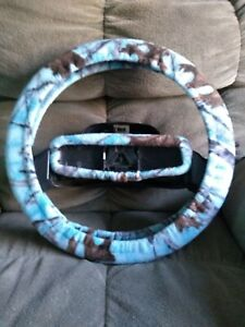 Blue Mossy Camo Fleece Steering Wheel Cover Set
