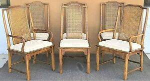 Set Of 6 Century Furniture Co Asian Chinoiserie Inspired Cane Back Dining Chairs