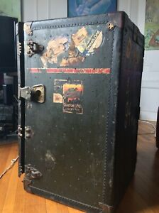 Antique Steamer Trunk With Original Travel Labels In Very Good Condition