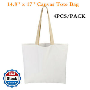 4 Pack 14 8 X 17 Sublimation Blank White Canvas Tote Bag Shopping Bags Usa