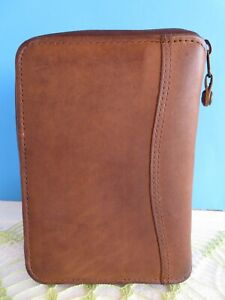 Pocket 7 8 rings Brown Leather Franklin Covey Spacemaker Planner Binder zip Usa