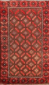 Geometric Semi Antique Balouch Oriental Area Rug Hand Knotted Wool 3x5 Carpet