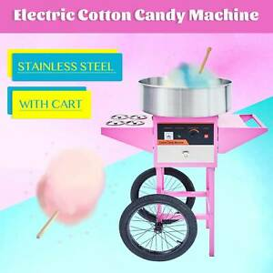 Electric Commercial Cotton Candy Machine Candy Floss Maker Pink Ss With Cart
