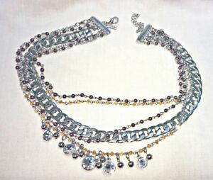 Chunky Cookie Lee Chain amp; Rhinestone Necklace 19 21quot; Silvertone $16.95