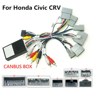 For Honda Civic Crv 16 19 Stereo 16pin Harness Connector Adapter With Canbus Box