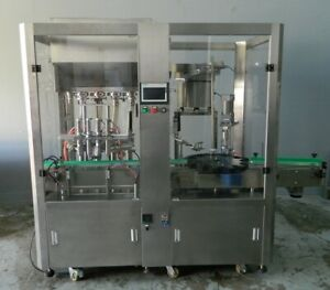 New Automatic 4 Head Piston Filler And Capper Machine With Conveyor