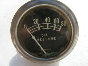 Vintage Stewart Warner Electric Oil Pressure Gauge 0 80 Hot Rat Rod Boat