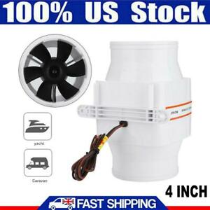 4 Inch Ventilation Fan Line 12v Marine Boat Bilge Air Blower Fan 270 Cfm White
