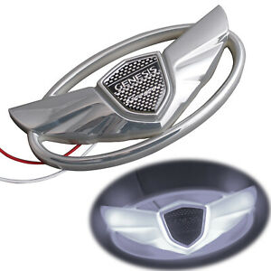 1x Whiteled Light For Hyundai Genesis Coupe Car Front Grille Rear Trunk Emblem